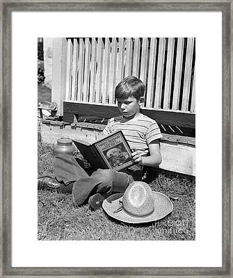 Boy Reading Outside, C.1940s Framed Print by H. Armstrong Roberts/ClassicStock