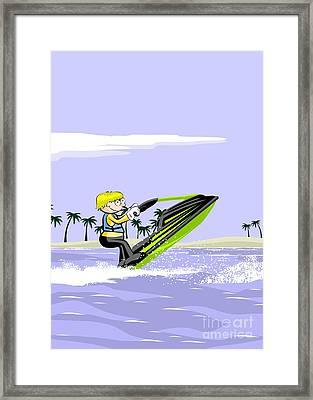 Boy Sailing Fast On A Green Jet Ski Framed Print
