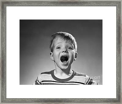 Boy Shouting, C.1950s Framed Print by Debrocke/ClassicStock