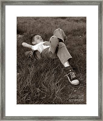 Boy Sleeping In The Grass, C.1960s Framed Print by H. Armstrong Roberts/ClassicStock