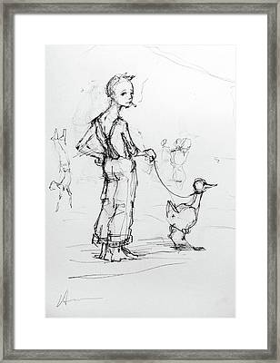 Boy Walking Goose Framed Print by H James Hoff