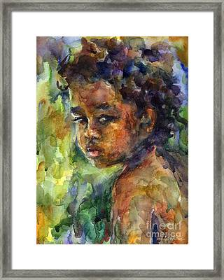 Boy Watercolor Portrait Framed Print by Svetlana Novikova