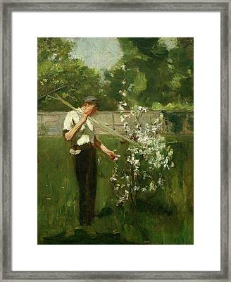Framed Print featuring the painting Boy With A Grass Rake by Henry Scott Tuke