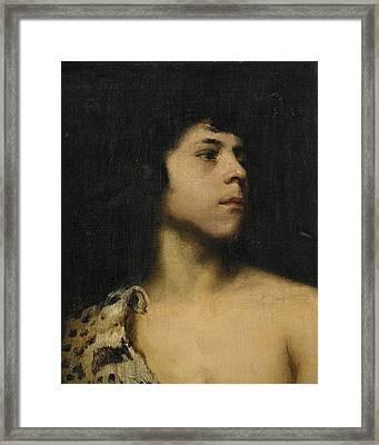 Boy With A Leopard Skin Framed Print