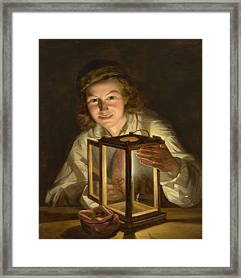 Boy With A Stable Lantern Framed Print
