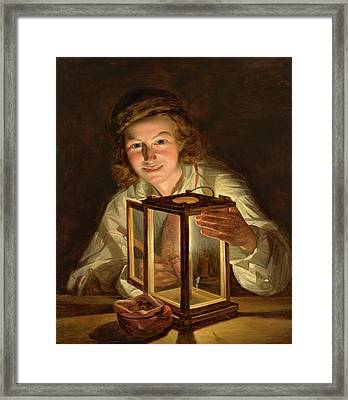 Boy With A Stable Lantern' Framed Print by MotionAge Designs