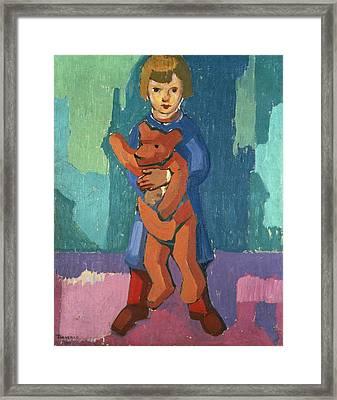 Boy With A Teddy Bear Framed Print