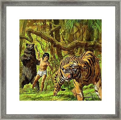 Boy With Bear And Tiger  Framed Print by English School