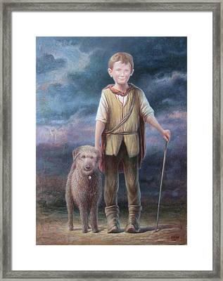 Boy With Dog Framed Print