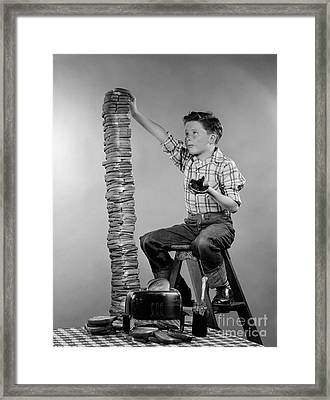 Boy With Huge Stack Of Toast, C.1950s Framed Print by H. Armstrong Roberts/ClassicStock