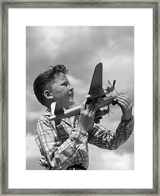 Boy With Model Airplane, C. 1940s Framed Print by H. Armstrong Roberts/ClassicStock