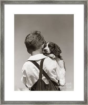 Boy With Puppy, C.1930-40s Framed Print by H Armstrong Roberts ClassicStock