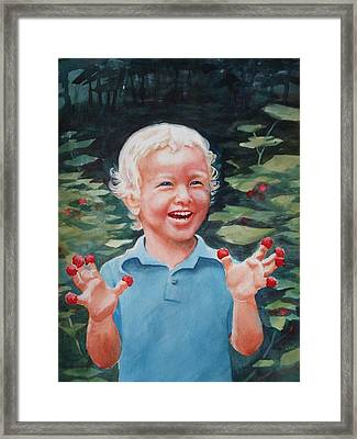 Boy With Raspberries Framed Print by Marilyn Jacobson