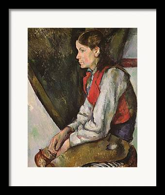 Portrait With Red Chair Framed Prints