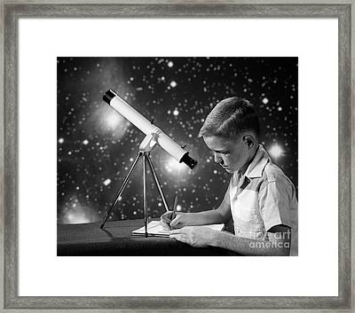 Boy With Telescope, C.1960s Framed Print by H. Armstrong Roberts/ClassicStock