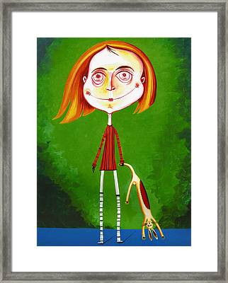 Boy With Toy Framed Print by Tiberiu Soos