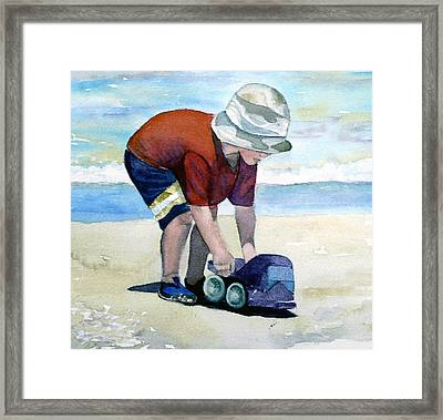 Boy With Truck Framed Print