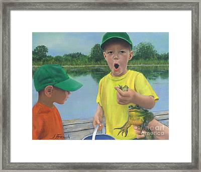 Boys And Frogs Framed Print