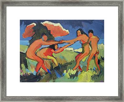 Boys And Girls Playing Framed Print