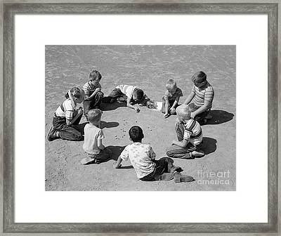 Boys And One Girl Shooting Marbles Framed Print by D. Corson/ClassicStock