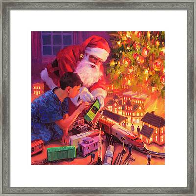Framed Print featuring the painting Boys And Their Trains by Steve Henderson