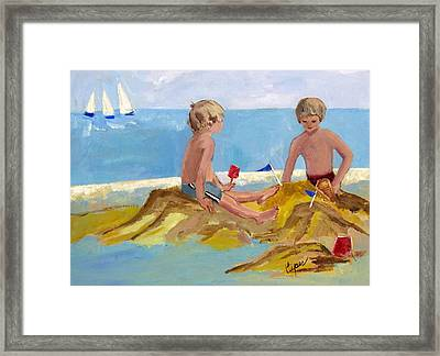 Boys At The Beach Framed Print