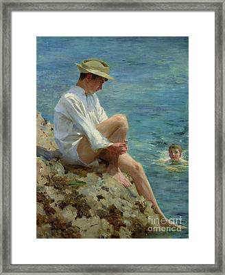 Boys Bathing Framed Print by Henry Scott Tuke