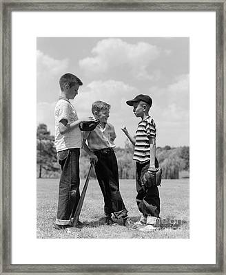 Boys Discussing Baseball, 1950s Framed Print by H. Armstrong Roberts/ClassicStock