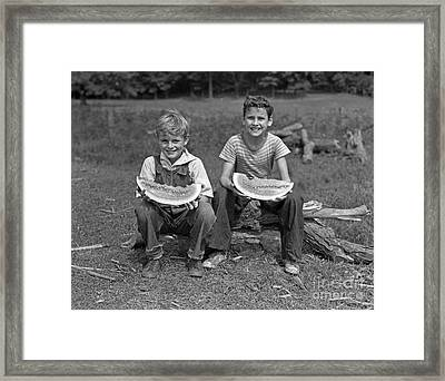 Boys Eating Watermelons, C.1940s Framed Print