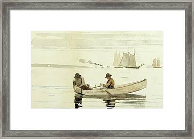 Boys Fishing, Gloucester Harbor, 1880  Framed Print by Winslow Homer