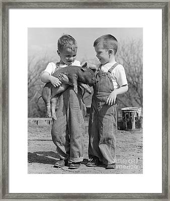 Boys Holding Piglet, C.1950s Framed Print by B Taylor ClassicStock
