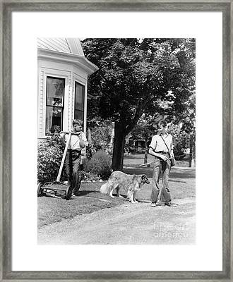 Boys Mowing Lawn And Going Fishing Framed Print by H. Armstrong Roberts/ClassicStock