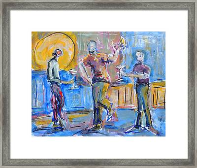 Framed Print featuring the painting Boys Night Out by Mary Schiros