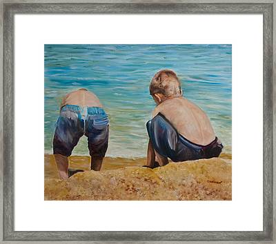 Boys On A Beach Framed Print