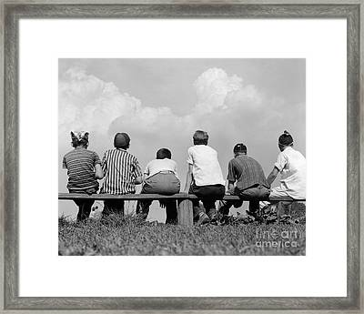 Boys On A Bench, C. 1960s Framed Print by H. Armstrong Roberts/ClassicStock