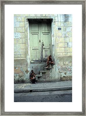Boys On Stairs Framed Print