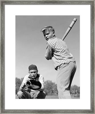 Boys Playing Baseball, 1950s Framed Print by H. Armstrong Roberts/ClassicStock