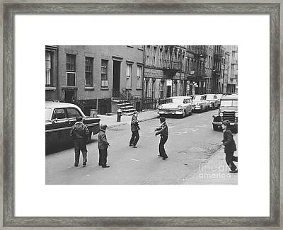 Boys Playing In Nyc 1957 Framed Print