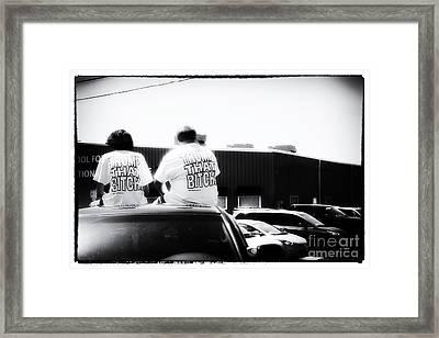 Boys Playing Trump  Framed Print by Steven Digman