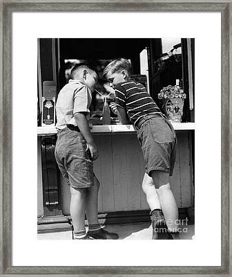 Boys Sharing A Soda With Two Straws Framed Print by H. Armstrong Roberts/ClassicStock