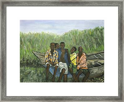 Boys Sitting On The Boat Uganda Framed Print by Reb Frost