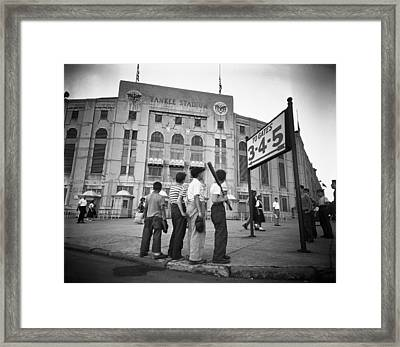 Boys Staring At Yankee Stadium Framed Print