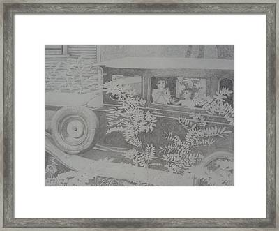 Happy's 2002 Boys With Dove In Model A Framed Print by Happy Byrd