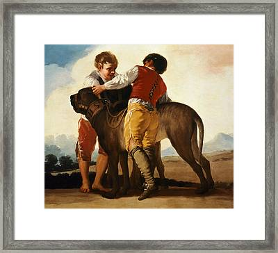 Boys With Mastiff Framed Print