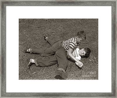 Boys Wrestling, C.1950s Framed Print by H. Armstrong Roberts/ClassicStock