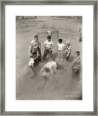 Boys Wrestling In Dust On Sand Lot Framed Print by D. Corson/ClassicStock