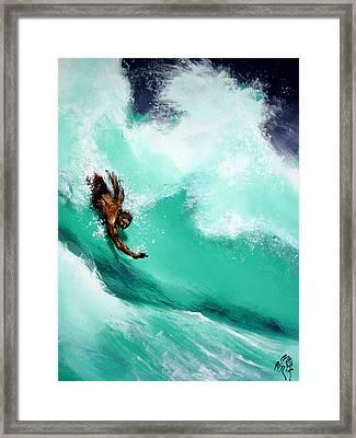 Brad Miller In Makaha Shorebreak Framed Print