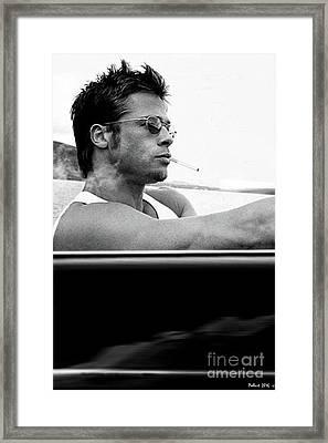 Brad Pitt, Driving Along The  Pacific Coast Highway In A 1958 Porsche 356a 1600 Speedster Framed Print by Thomas Pollart