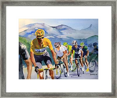 Brad Wiggins In Yellow Framed Print by Shirley  Peters