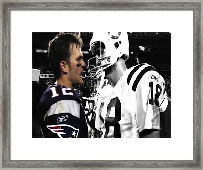 Brady And Manning Stare Down Framed Print by Brian Reaves